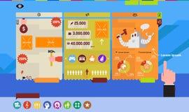 Infographics för platsen och presentationen Vektorbild i en plan stil Vektordiagram, tabeller, symboler, nummer och royaltyfri fotografi