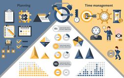 Infographics för Tid ledning Arkivbild