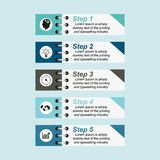 Infographics are fastened strips in five steps. Visualization of business data, infographics. Scheme of process elements using graphs, diagrams rectangles are royalty free illustration