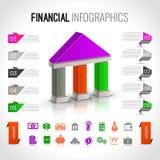 Infographics financiero del banco Foto de archivo libre de regalías