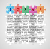 Infographics - five steps with puzzle pieces Royalty Free Stock Images