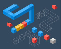 Infographics with flat colored cubes Royalty Free Stock Photography