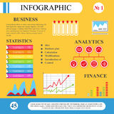 Infographics in flat style. Business processes and plan. The scheme for the management, graphs and tables. To demonstrate the working and learning process Royalty Free Stock Photos