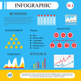 Infographics in flat style. Business processes and plan. The scheme for the management, graphs and tables. To demonstrate the working and learning process Stock Photos