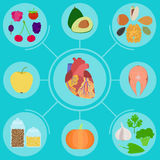 Infographics of food for healthy heart Royalty Free Stock Photos