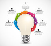 Infographics For Business Presentations Or Information Booklet. Light Bulb With Arrows Around.