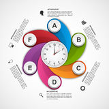 Infographics in the form of spirals and clock inside. Royalty Free Stock Images