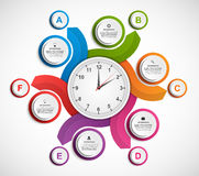 Infographics in the form of spirals and clock inside. Royalty Free Stock Photography