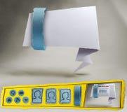 Infographics fotografi av en blå Origami Website Arkivbild