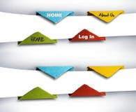 Infographics fotografi, set av origamiknappar Arkivfoton