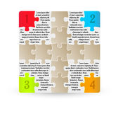 Infographics - four steps with puzzle pieces. On white background Stock Images