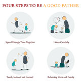 Infographics - FOUR STEPS TO BE A GOOD FATHER Stock Photography