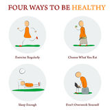 Infographics - FOUR WAYS TO BE HEALTY Stock Images