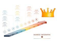 Infographics från kulöra pilar för 9 delar stock illustrationer