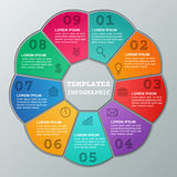 Infographics frames. Vector infographic circular templates 9 ste. Infographics frames. Circular template infographic. Graphics elements. Vector. Templates data Royalty Free Stock Photo