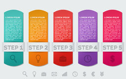 Infographics frames. Vector infographic templates 5 steps. Stock Photo