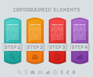 Infographics frames. Vector infographic templates 4 steps. Infographics timeline. Infographic frames. Vector graphic elements. Info templates data for text stock illustration