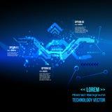 Infographics futurista del interfaz, fondo digital de la tecnología, DNA, vector