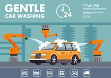 Infographics gentle car wash royalty free illustration