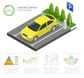 Infographics and Green electric car charging point vector. Renewable eco technologies. Green power. stock illustration
