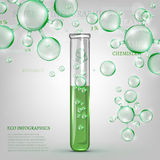 01 Infographics green molecule. The illustration of beautiful transparent molecules and a chemical tube iwth green liquid. Ecology Concept. Vector image Stock Photos
