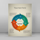 Infographics guide format A4 brochure layout pages. Modern Design infographic style template on vintage background with numbered 3d effect blue arrows circle Stock Photography