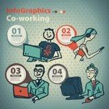 Infographics ha messo nello stile di uno schizzo di Internet globale Fotografie Stock Libere da Diritti