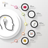 Infographics. Head with bulb. Modern colorful circle with icons. Vector Stock Photography