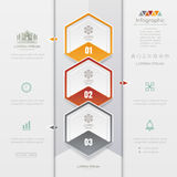 Infographics Hexagon design template with business icons, process Royalty Free Stock Photos