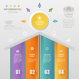 Infographics Home design template with business icons, process  Stock Photography