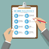 Infographics of home or real estate insurance report in flat design. Vector. Infographics of home or real estate insurance report in flat design. Hand holding Stock Photography