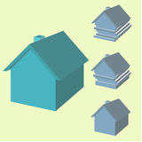Infographics of house in 3d. House with displaced layers. Infographics of house in 3d. House with displaced layers stock illustration