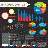 An infographics with humans and vehicles Stock Photos
