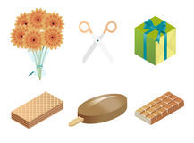 Infographics icons set. Sweets flowers scissors royalty free illustration