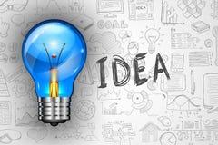 Infographics-Ideen-Lampe mit Geschäft kritzelt Skizzenhintergrund: infographics Stockfoto