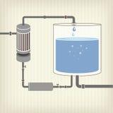 Infographics intrig med en flytande, en vattenbehållare Arkivfoto