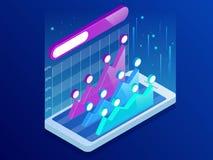 Infographics isométrico dentro do smartphone, análise de tendência do negócio na tela com gráficos, perspectiva do smartphone mer ilustração stock