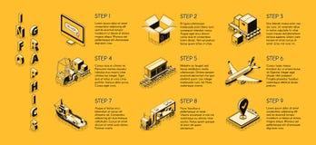 Infographics isométrico do vetor da empresa de entrega ilustração do vetor