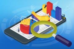 Infographics isométrico no telefone celular Fotografia de Stock
