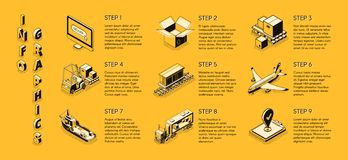 Infographics isométrique de vecteur de société de livraison illustration de vecteur