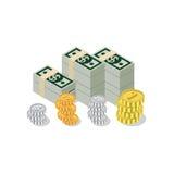 Infographics isométrique plat de Web de pièce de monnaie de billet de banque de tas du dollar 3d Photos stock
