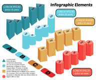 Infographics. Isometric Vector Infographic Elements. Business Block Chart on White Background. Basic 3D Shapes royalty free illustration