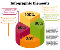Infographics-16. Isometric Vector Infographic Elements. Business Pie Chart on White Background.  Colorful circle diagram with different percentage Stock Photos
