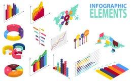 Infographics isometrico di stile con le icone di dati, i grafici della mappa di mondo e gli elementi di progettazione Fotografia Stock