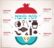 Infographics for  Jewish New Year, hebrew happy new year, with traditional fruits Royalty Free Stock Photography