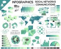 Infographics-Kommunikations-soziale Netzwerke EPS10 vektor abbildung