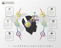 Infographics Kreatywnie umysł z hełmofonami Nowożytny kolorowy szablon z ikonami również zwrócić corel ilustracji wektora Zdjęcia Royalty Free