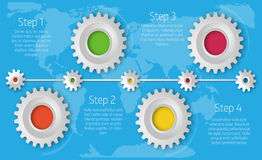 Infographics linii czasu szablon z realistycznymi kolorowymi przekładniami dla ilustracji
