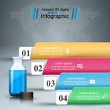 Infographics médico Botella con una prescripción Ejemplo del vector del estilo de la papiroflexia de Infographics del negocio stock de ilustración