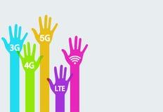 Infographics móvil de Internet de las manos coloridas del vector Fotografía de archivo